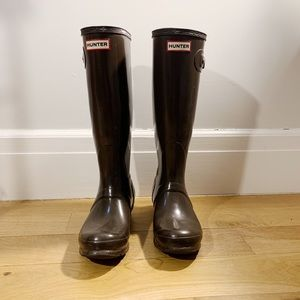 [Hunter] classic tall long rainboots (brown)